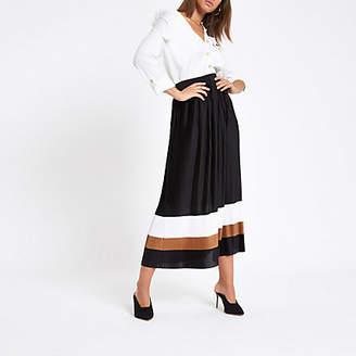 River Island Black pleated block midi skirt