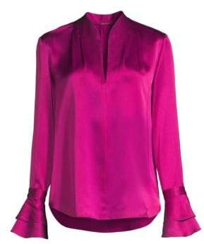 Elie Tahari Women's Judith Long Sleeve Silk Blouse - Orchid - Size Small