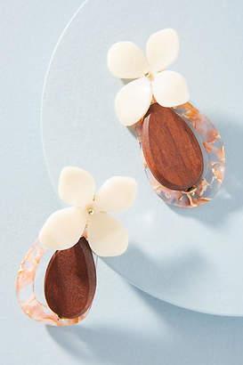 Anthropologie Floral Hooped Drop Earrings