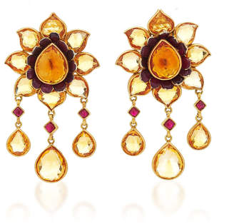 Munnu The Gem Palace One-Of-A-Kind Citrine And Ruby Lotus Earrings