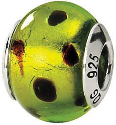 Green & Black Prerogatives Sterling Green/Black Italian Murano Glass Bead