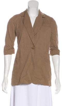 Elizabeth and James Notch-Lapel Ruched Sleeves Blazer