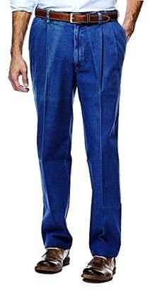 Haggar Men's Work-to-Weekend Hidden Expandable-Waist Denim Pleat-Front Pant