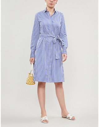 Selfridges Pdn London Victoria striped belted cotton-poplin shirt dress