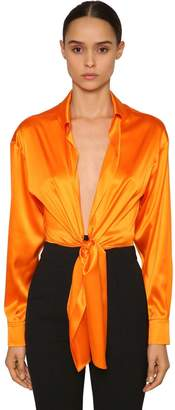 Alexandre Vauthier Knotted Stretch Satin Crop Top