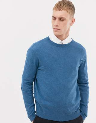 Asos DESIGN Cotton Sweater In Pale Blue