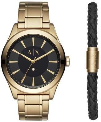 Men's Gold Plated Watch & Bracelet Set