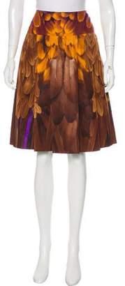 Prada Printed Pleated Knee-Length Skirt