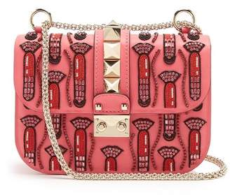 Valentino X Zandra Rhodes Lock Small Leather Shoulder Bag - Womens - Pink Multi