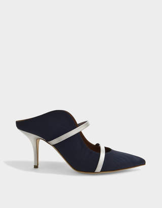 Malone Souliers Maureen 70 Mid Mule Shoes in Navy and Silver Moire and Metallic Nappa Leather