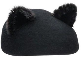Women's Eugenia Kim 'Caterina' Genuine Mink Trim Beret - Black $315 thestylecure.com