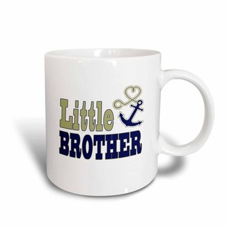 3dRose Little Brother Cute Anchor and Heart Rope Navy and Gold, Ceramic Mug, 15-ounce