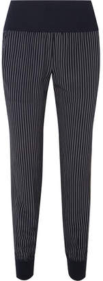 Theory Jersey-trimmed Pinstriped Silk Crepe De Chine Track Pants - Navy