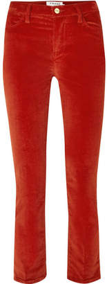 Frame Le High Cotton-blend Corduroy Straight-leg Pants - Red