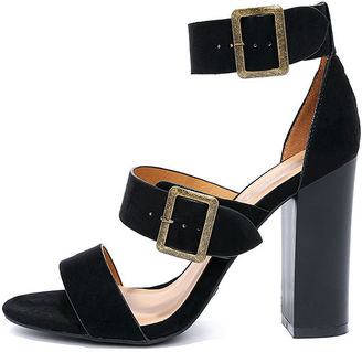 To the Top Black Suede High Heel Sandals $34 thestylecure.com