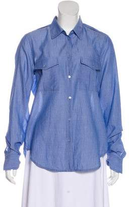 Vince Pinstripe Button-Up Top