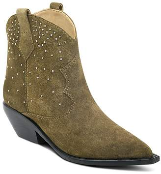 Sigerson Morrison Women's Tira Studded Suede Western Booties