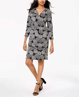 JM Collection Printed Zip-Neck Dress