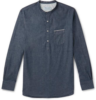 Officine Generale Grandad-Collar Selvedge Cotton-Chambray Half-Placket Shirt