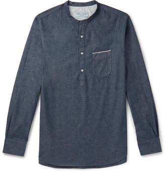 Officine Generale Grandad-Collar Selvedge Cotton-Chambray Half-Placket Shirt