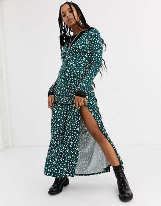 Asos Design DESIGN long sleeve button through maxi tea dress with splits in ditsy print