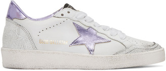 Golden Goose White & Purple Ball Star Sneakers $425 thestylecure.com