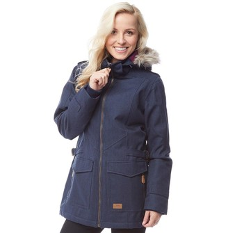 00769eebe2720 Trespass Womens Everyday Insulated Herringbone Parka Jacket Navy