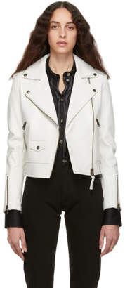 Mackage White Leather Baya Jacket