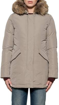 Woolrich Taupe Luxury Artic Parka Hooded Down Jacket