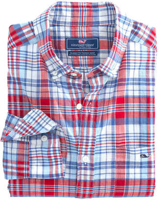Vineyard Vines Firework Plaid Classic Tucker Shirt