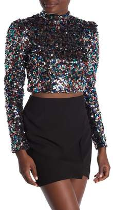 A.Calin Multi Color Sequin Mesh Top
