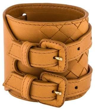 Bottega Veneta Double Buckle Leather Wrap Bracelet