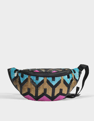 Elijah Waist Bag in Neon Yellow, Black Sequins, Beads and Polyester