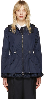 Moncler Navy Lotus Hooded Jacket $990 thestylecure.com