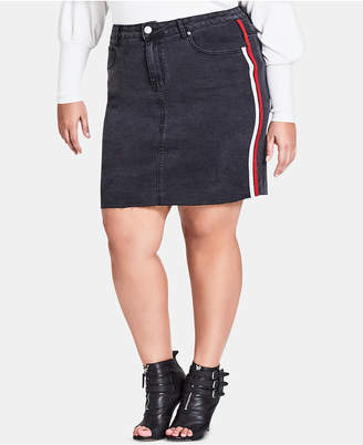 0ec123a0b3c City Chic Trendy Plus Size Racing-Stripe Denim Skirt