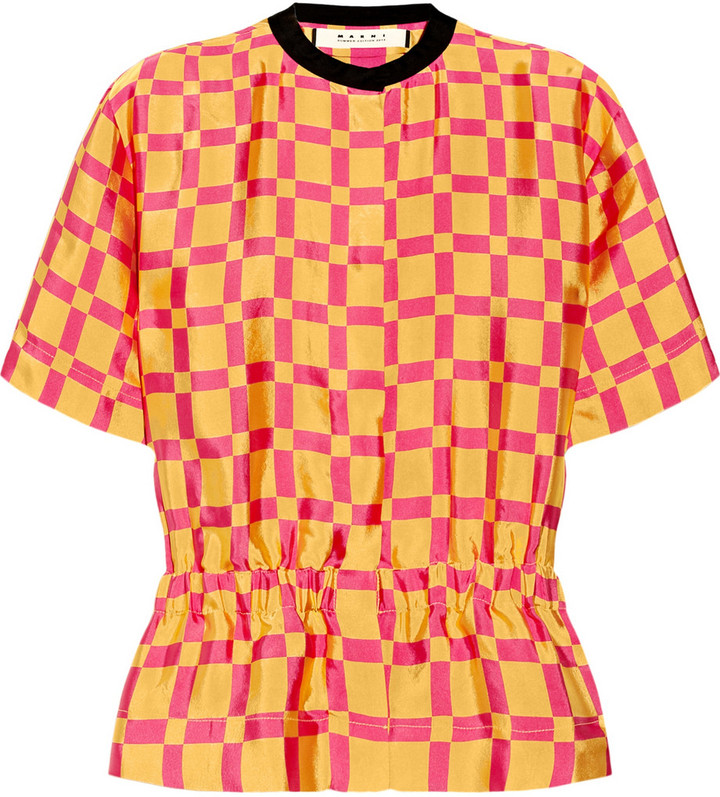 Marni Printed sateen-twill blouse