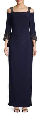Betsy & Adam Embellished Cold-Shoulder Floor-Length Dress