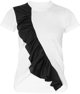 Marques Almeida Marques' Almeida - Asymmetric Ruffled Two-tone Cotton-jersey T-shirt - White