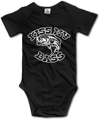 First Class KISS MY BASS Baby Romper Short Sleeve Onesie Unisex Cute Baby Bodysuit