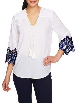 Chaus Embroidered Bell-Sleeve Cotton Blouse