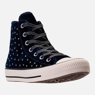 Converse Women's Chuck Taylor High Top Velvet Stud Casual Shoes