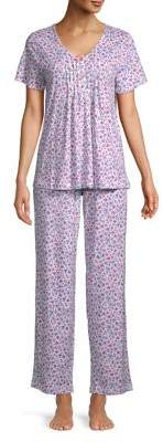 Carole Hochman Two-Piece Pintucked V-Neck Floral Pajama Set