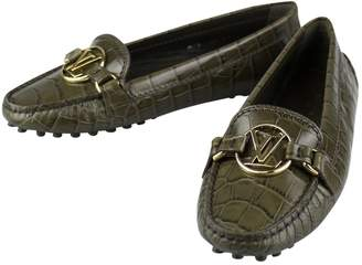 Louis Vuitton Green Leather Flats