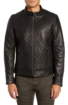 LAMARQUE Diamond Quilted Leather Biker Jacket