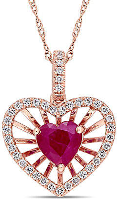 HBC CONCERTO Vault 14K Rose Gold and Ruby Heart Pendant Necklace with 0.25 TCW Diamond