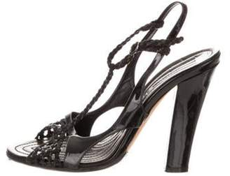 Nina Ricci Patent Leather Ankle Strap Sandals Black Patent Leather Ankle Strap Sandals