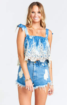 Show Me Your Mumu Poppy Swing Crop ~ Deep Horizon Embroidery