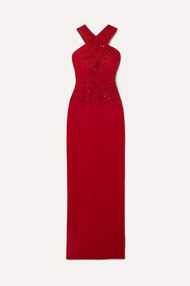 Naeem Khan Cutout Embellished Tulle And Crepe Gown - Red