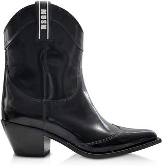MSGM Black Patent Leather Camperos Boots