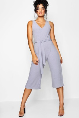 boohoo Ribbed Culotte Self Belt Jumpsuit